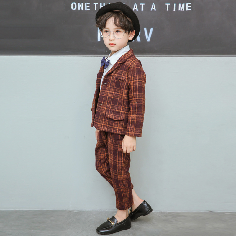Boy Suits England Style Boys Blazer Long Sleeve Plaid for Kids Clothes