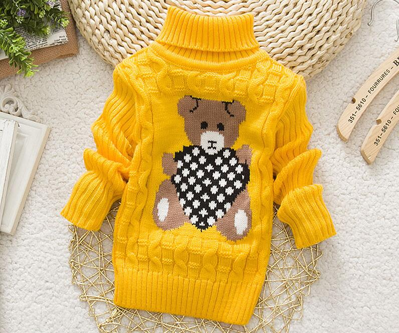 2018 Winter Girls Warm Sweaters Boys Thick Knitted Turtleneck Sweaters Baby High Collar Pullover Cartoon Bear Sweater Kids Coats 6