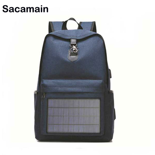 c2121c28454e Solar Panel Men Backpack Powered Backpack Usb Charging Laptop Travel  Backpacks Canvas Casual Comfortable Bagpack Waterproof
