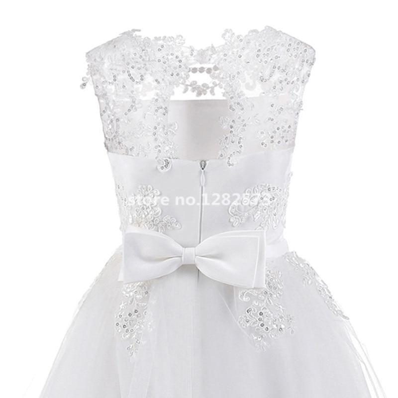 В наличии Высокое качество блестками цветок девочки платья От 2 до 12 лет белые платья для первого причастия для девочек длинные цвета слонов...