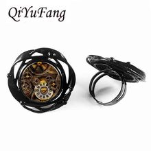 Steampunk Alice in wonderland watch of Life time flower big ring Mechanical flower big ring Dr who 1pcs/lot mens charming