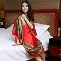 Salón Femenino Más Tamaño Camisón de Seda del Verano de Las Mujeres Sleepshirt Camisón Impreso Satén de Seda Rojo de Las Señoras Atractivas ropa de Noche Ocasional