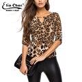 Otoño 2017 de leopardo de impresión media manga de la blusa de las mujeres tops camisa de las mujeres más tamaño mujeres clothing señora blusas blusas casuales 8231