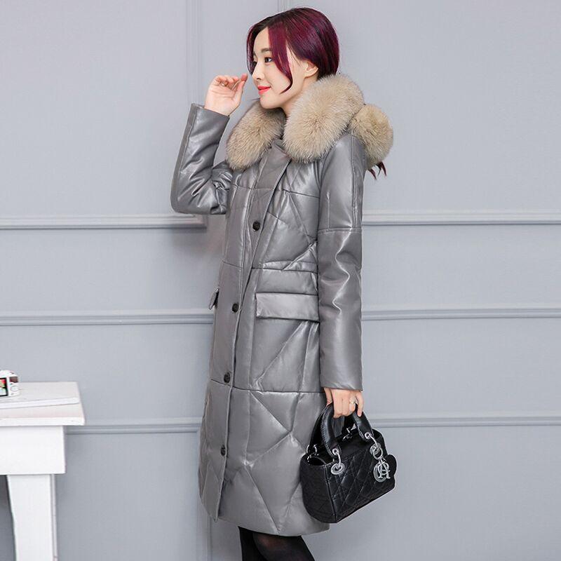 D'hiver gray Chauds Down Cuir Veste 3xl Jacket Vêtements Taille Haute Imitation Pu Jacket red Hiver En De Femmes Duvet Manteaux Black Nouvelle Européenne Fourrure Jacket T1qxZAn