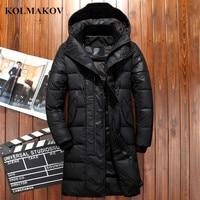 KOLMAKOV New Winter 90% Duck Down Jackets Men 2018 Black Down Coats Mens Thickening Hooded Parkas Waterproof Long Jackets 3XL