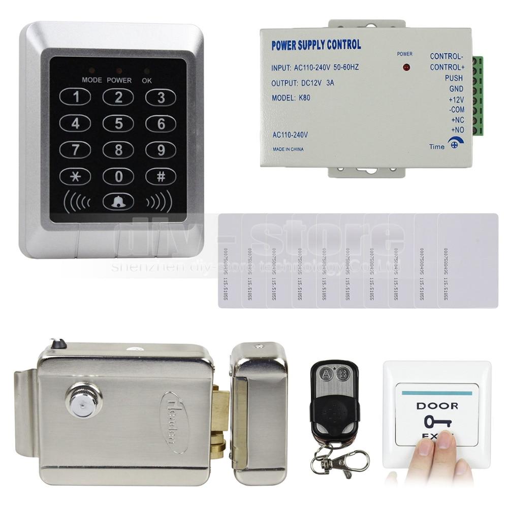 DIYSECUR Rfid 125KHz Card Reader Keypad Door Access Control System Kit + 10 Free ID Cards for Office / Home Improvement usb pos numeric keypad card reader white