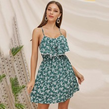 купить New trendy green floral dress girl sling back cross strap lady female dresses summer ruffles sling mini dress with zipper hcy050 по цене 853.22 рублей