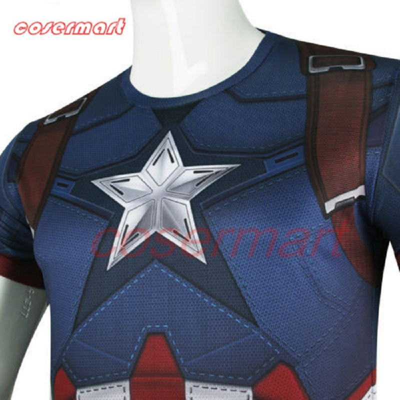2016 New Captain America 3 Winter Soldier Bucky Barnes 3D T-Shirts Cosplay Costumes T-shirt Halloween
