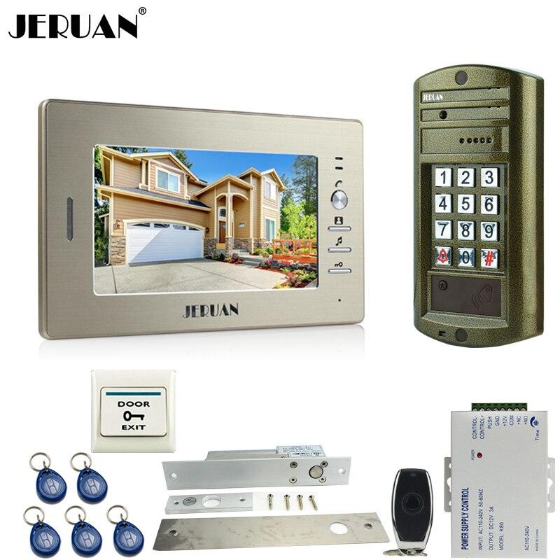 Home 7`` Video DoorPhone Intercom System kit Metal panel waterproof password keypad HD Mini Camera + Electric Drop Bolt lock