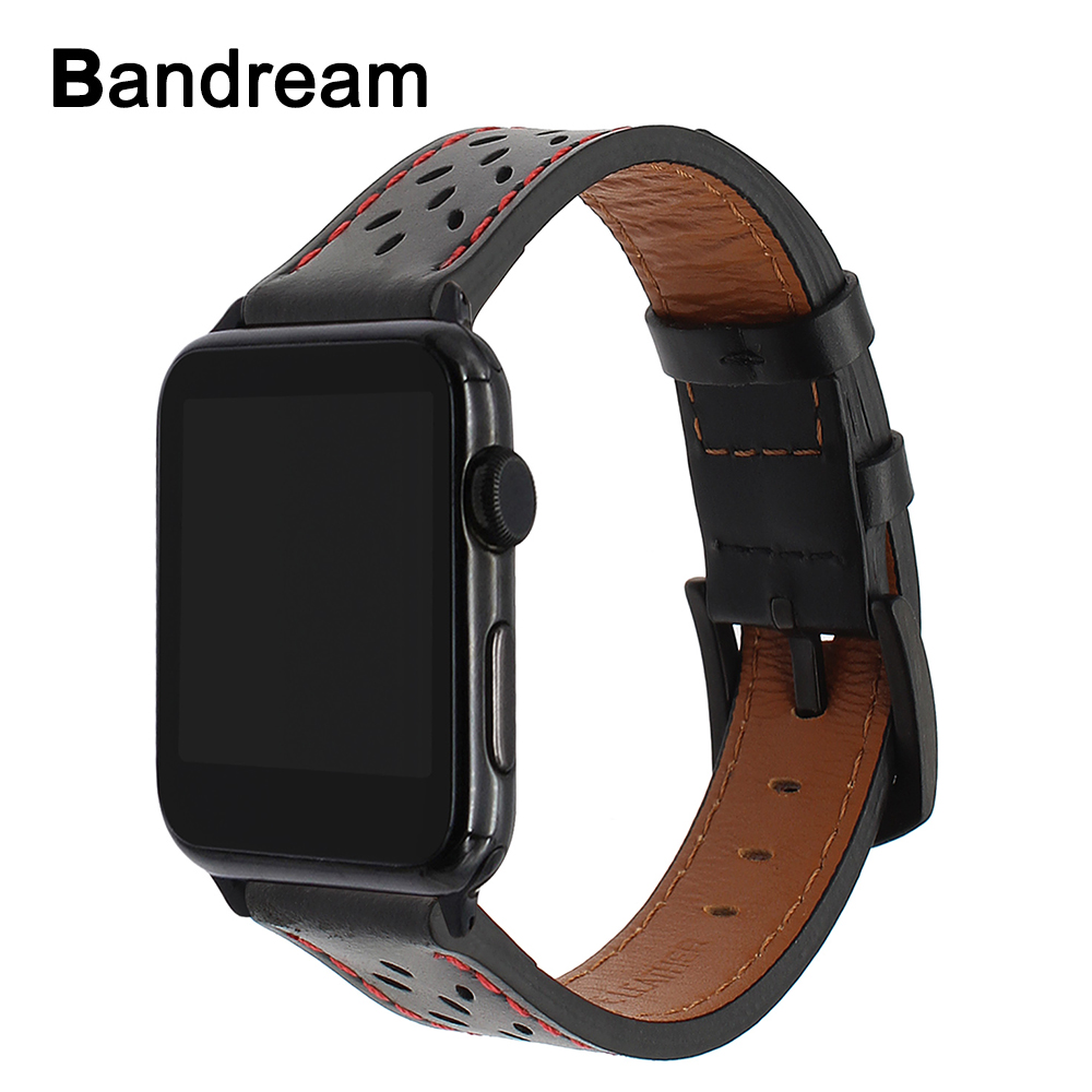 Genuine Leather Watchband Unique Trefoil Pattern for iWatch Apple Watch 38mm 42mm Series 1 2 3 Band Stainless Steel Buckle Strap