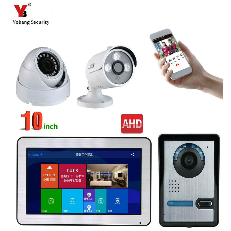 10 Inch Wireless/WiFi Smart IP Video Door Phone Intercom System with Wired Doorbell HD Camera,Support Remote unlock
