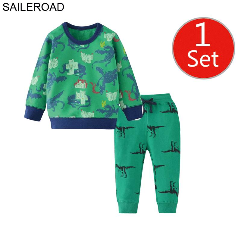 SAILEROAD Dinosaur Print Costumes for Boys Long Sleeve Outfits Autumn Two-piece Toddler Boy Clothing Sets Cotton Clothes Set 2