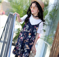 Girls Summer Dress 2017 Children O-neck Flare Sleeve T-shirt+Strap Ruffles Floral Printed Dress Sets Kids Casual 2pcs Dress Sets