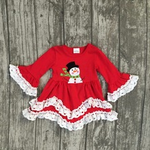 Christmas Fall/winter baby girls clothes children cotton ruffle red snowman print white lace cute dress boutique flare sleeve