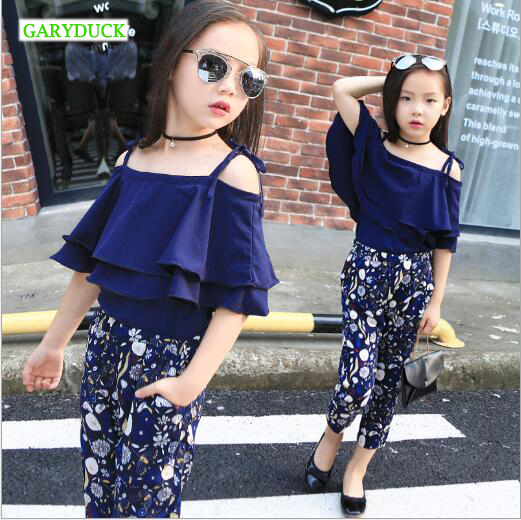 Kids Girls Set Clothes Children Fashion Top Pant Two Piece Kids Summer Suit Girls Boutique Outfits 7 8 9 10 11 12 13 14 Years fashion high quality brand letter children 3 piece suit boutique girls clothing size 8 to size 13 year