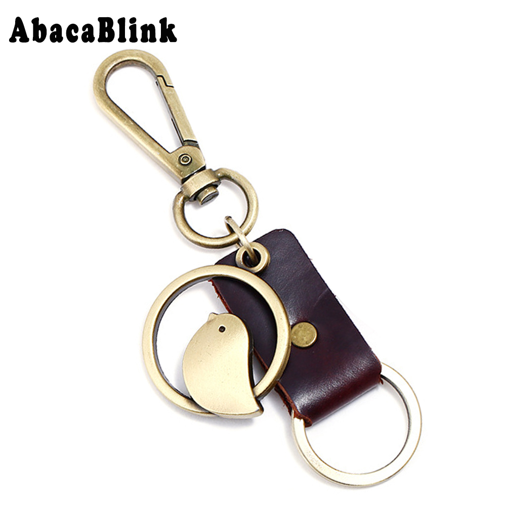 4*4CM Cute Cartoon Bird Key Chains Pendant Copper Alloy Car Key Ring Retro Cowhide Leather Keychains For Men Jewelry Accessories cute key style alloy quartz watch with neck chains 1 377