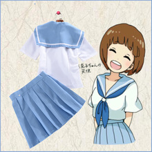 Аниме Kill La убить Мако Mankanshoku Косплэй костюм милый тонкий из двух частей Плиссированные платье полный комплект (футболка + юбка)