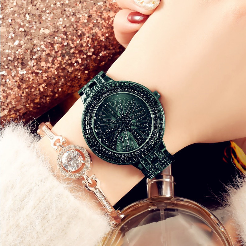 Authentic Goddess Ladies Watch The Time To Run Green Multi Encrusted Watches Steel Belt Waterproof Rotating