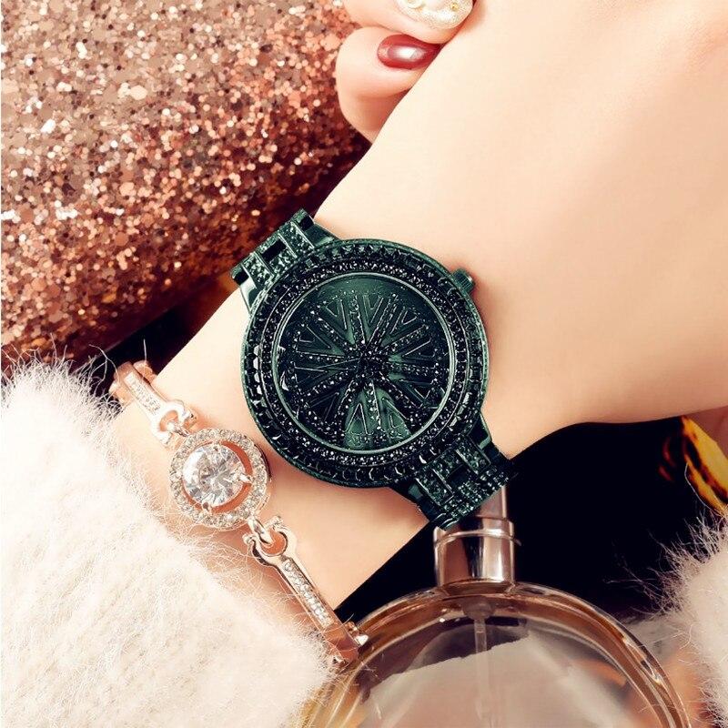 本物の女神女性は、時間に実行グリーンちりばめ腕時計スチールベルト防水回転石英潮腕時計  グループ上の 腕時計 からの レディース腕時計 の中 1