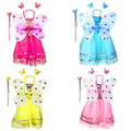 Children Butterfly Cosplay Costume Stage Party Costume Fairy Girl Kid 4pcs/lot Butterfly Wing Wand Headband Skirt Dress Set