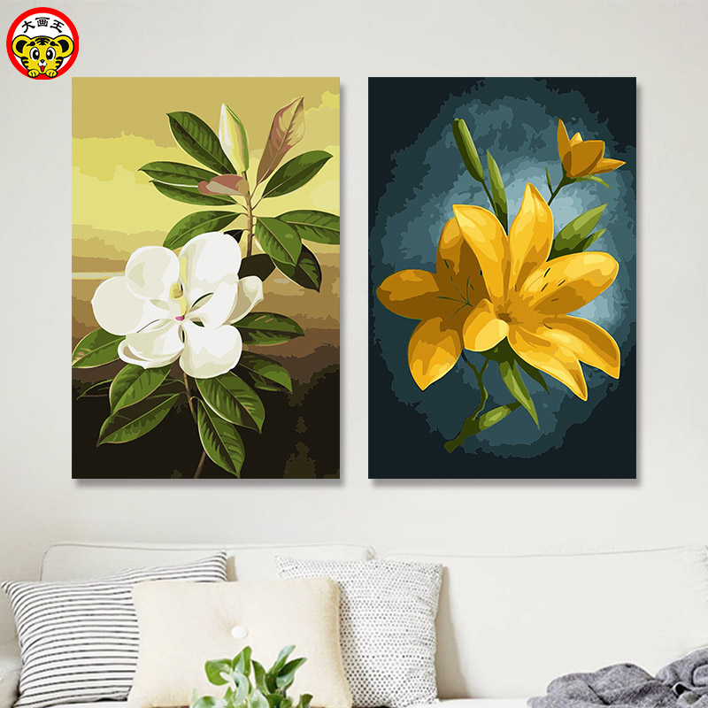 painting by numbers art paint by number DIY digital painting plant flower wood lotus yellow lily oil painting flower peach white