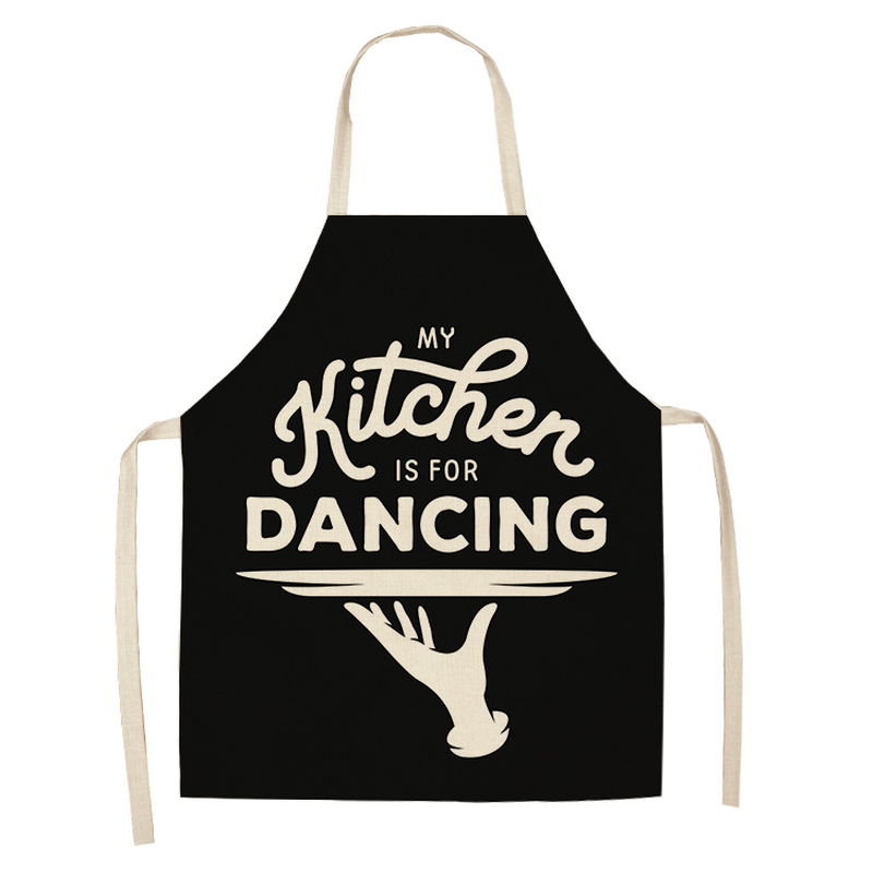 1 Pcs Creative Black And White Pattern Kitchen Aprons For Woman Home Cotton Linen Sleeveless Apron Cooking Baking Waist Bib Tool