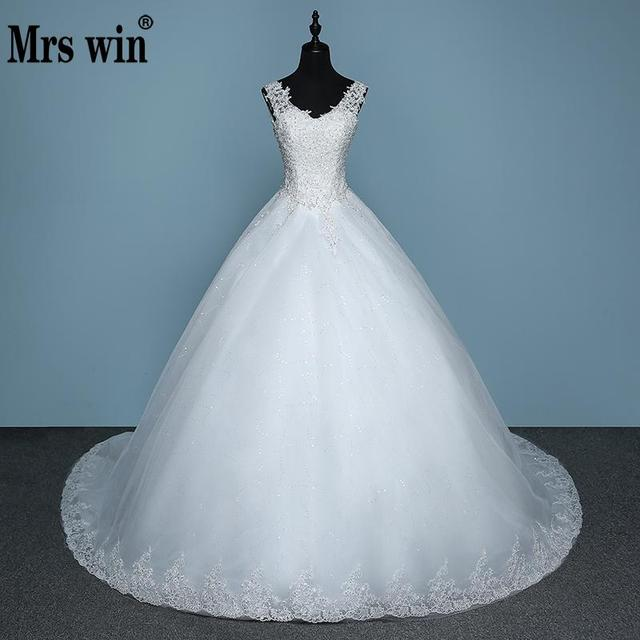 Vestido De Noive New Arrival Embroidered Organza And Tulle Sexy V-neck Sweep Train Lace Up Ball Gown Prinecess Wedding Dress