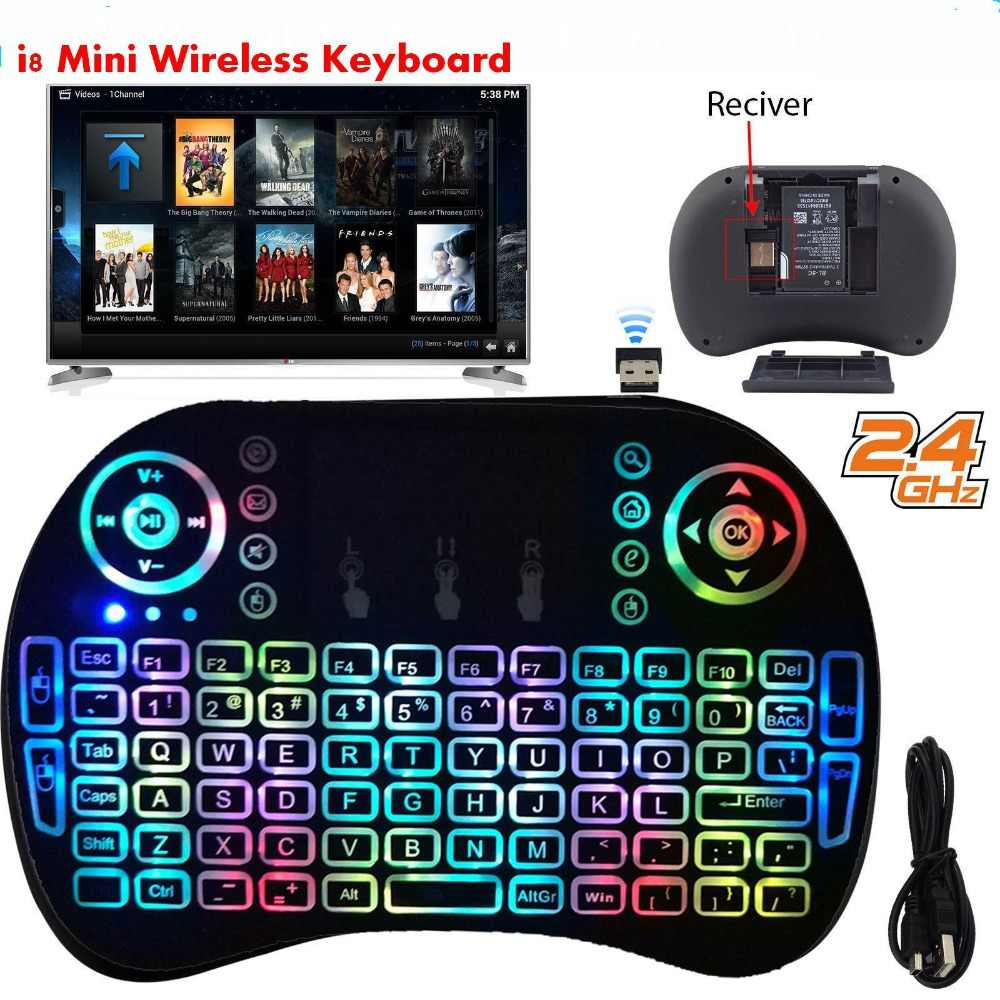 32//64bits Dnasrivew i8plus Mini LED Backlit Wireless Keyboard Fly Air Mouse Touchpad for PC Android for Windows 7//Vista//XP//2000//OSX for Android 1 Spanish for Linux