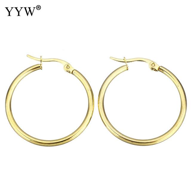 Yyw European Fashion Gold Color Stainless Steel Jewelry Ear Loops Earring Donut Circle Round More Size