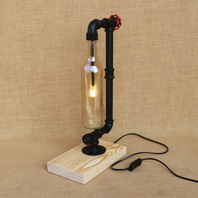 Modern Bottle lampshade include G4 bulb desk light industry table lamp with switch for bedroom bedside office study 220V indoor brief solid oak wood textile desk lamp fabrics lampshade table light bedroom bedside warm lampara night light luminaria