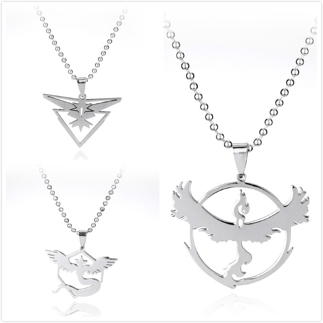 New Game Hot sale Pokemon Go Necklace Anime Stainless Steel Team Valor Mystic Instinct Logo Bead Chain for Women and Men Fans