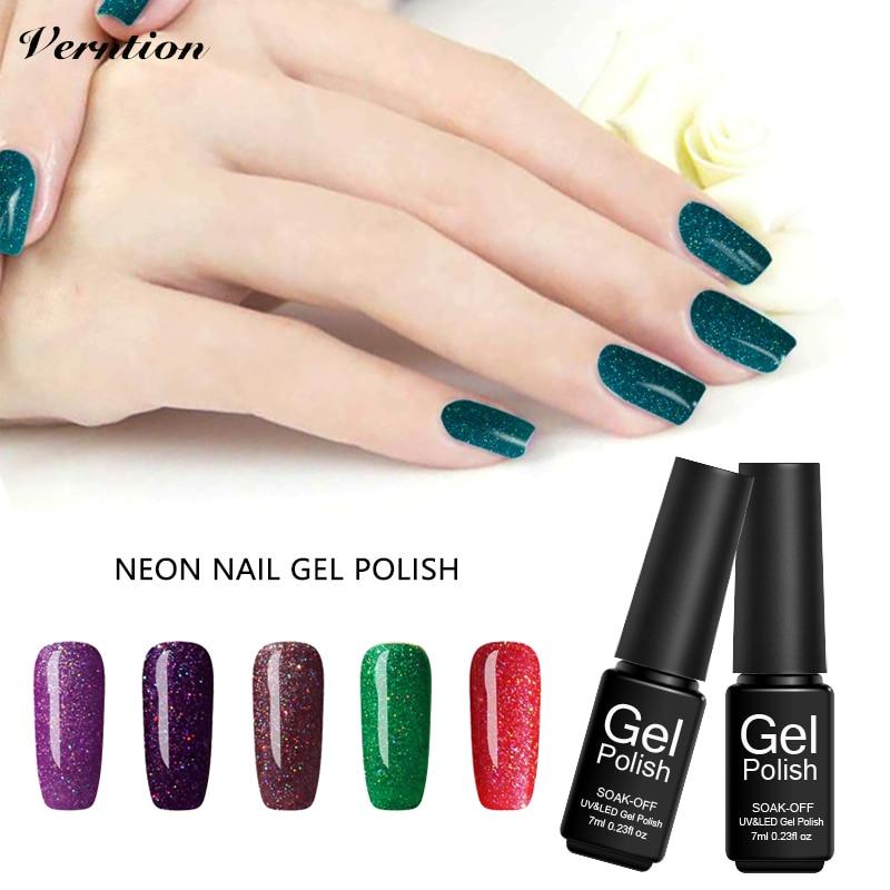 Verntion Neon Glitter Gel Nail Polish Set Nail Design Color ...