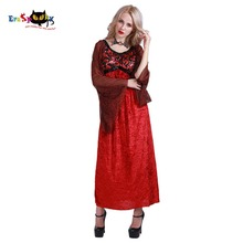 Renaissance Dress Vampire Costume Women Gothic Witch Queen Dresses Red Fancy Dress for Girl Female Adult Halloween Costumes