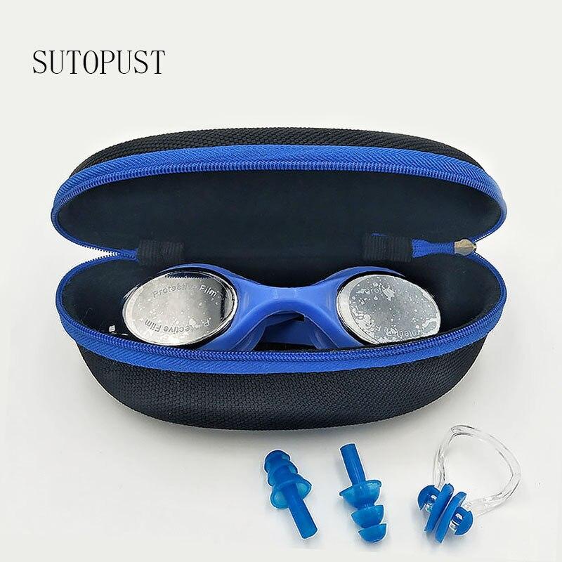 Professional Sports Electroplate Swimming Glasses Anti Fog UV Waterproof Diopter Adjustable Eyewear Earplug Men Women