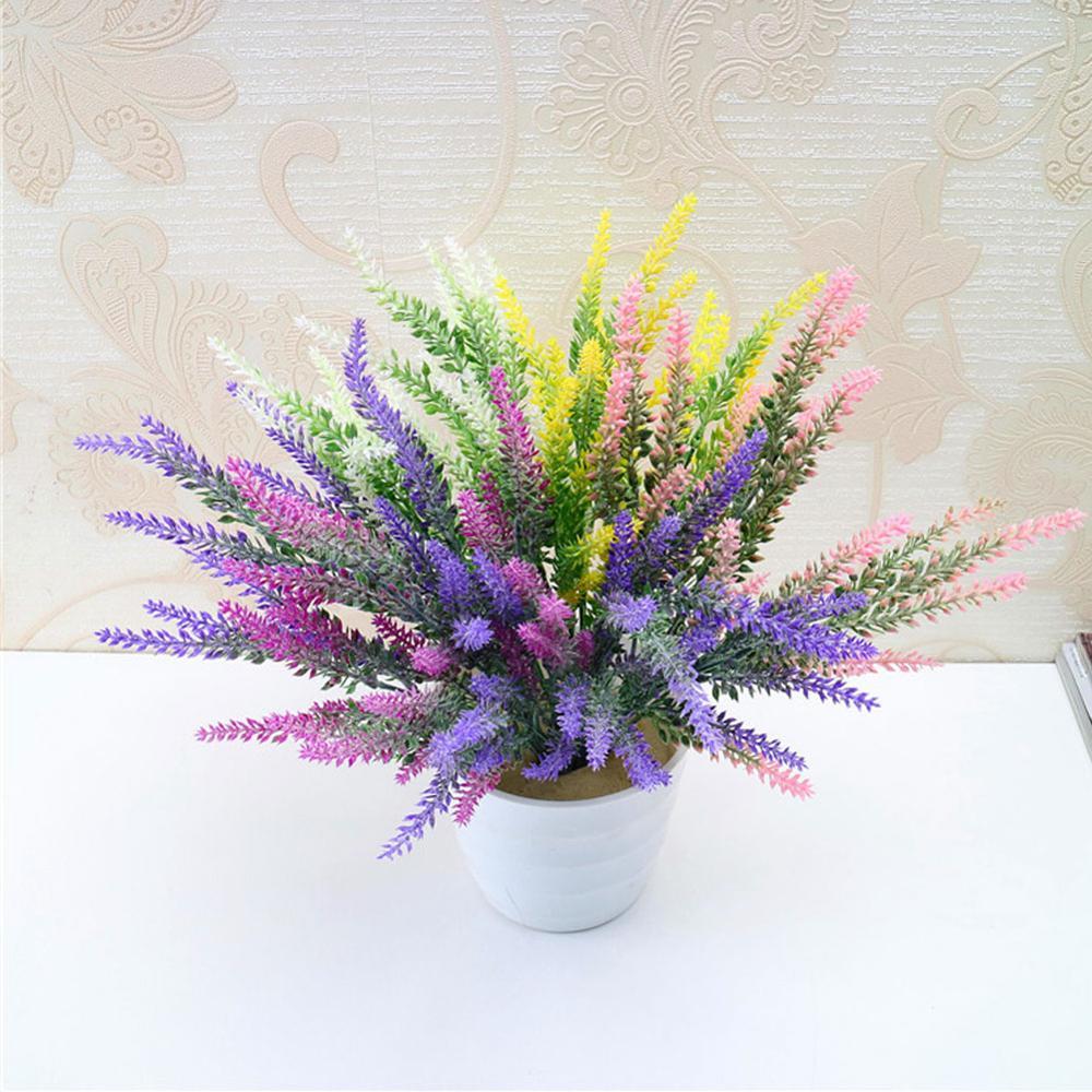 25 Flower Heads Romantic Provence Decoration Lavender Flower Silk Artificial Flowers Grain Decorative Simulation Aquatic Plants