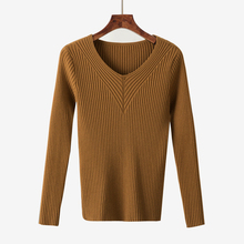 2017 Nouveau Style De Mode Mince Chandail Mince Col V à manches longues Solide Couleur Pull En Tricot Chemise Sexy Femmes À Manches Longues tricot Pull