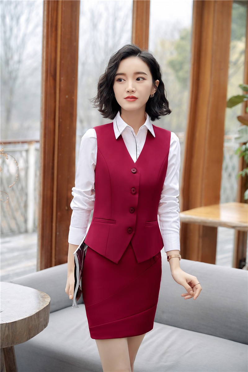 Formal Two Piece Set Women Business Suits With Tops And Skirt Uniform Styles Vest Coat & Waistcoat For Ladies Blazers Skirt Sets