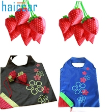 Home Wider Hot Selling New Simple Strawberry Fruit Green Folding Convenience Shopping Bag Free Shipping