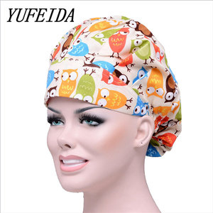 YUFEIDA Unisex Hospital Surgical Printed Caps Doctor Nurse Men Woman Caps Flower Pattern Adjustable Pet Dentist Clinic Caps(China)