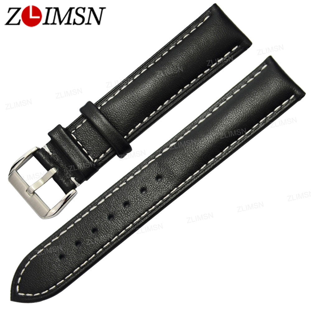 ZLIMSN Genuine Leather Brown Black Watchband Replacement Watch Band 21mm 23mm Men Women Watches Strap b8 custom order italian leather watch strap 12 23mm blue watchband with free shipping