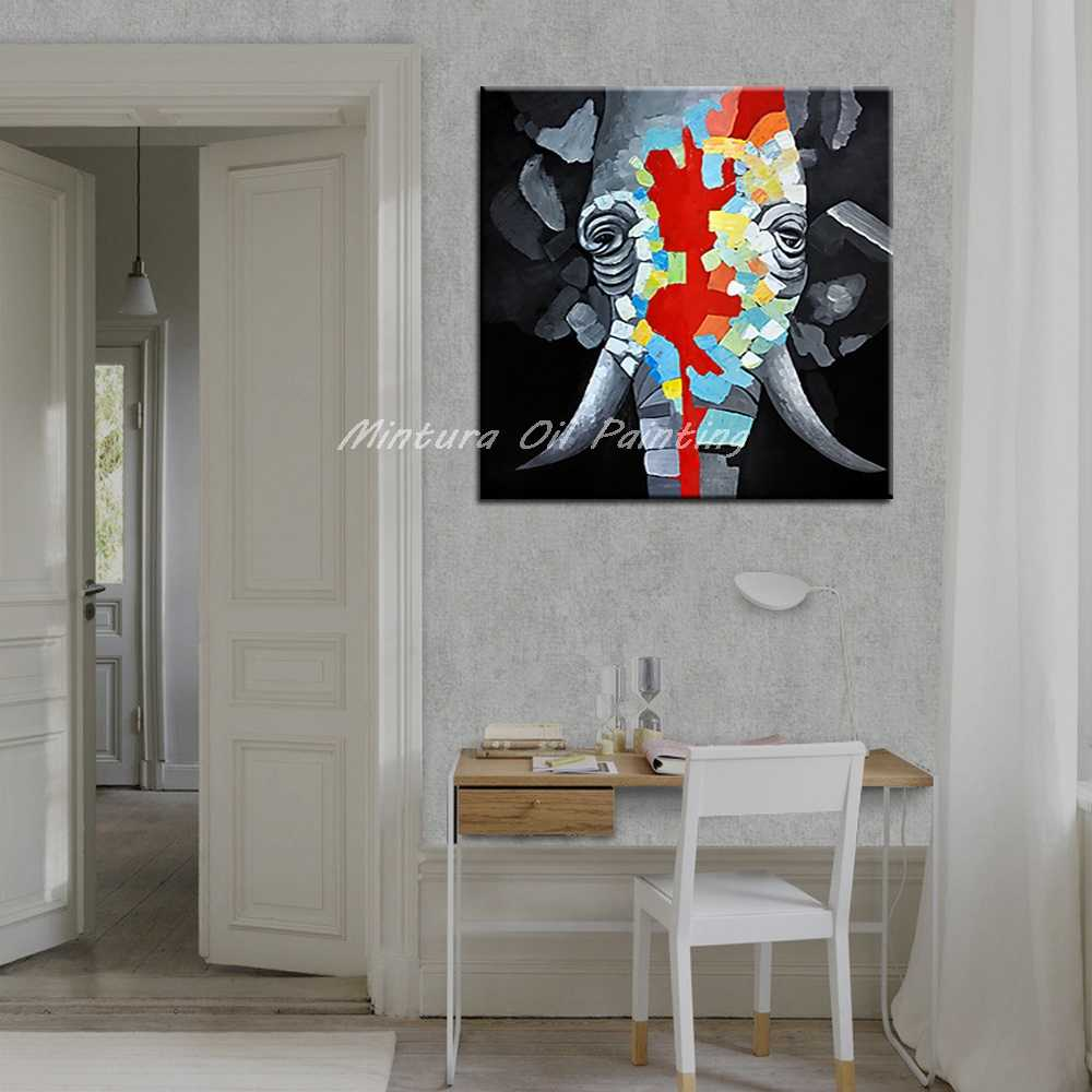 Mintura Frameless Pictures Hand Painted Elephant Oil Painting On Canvas Home Decoration Wall Art Abstract Animal Oil Paintings