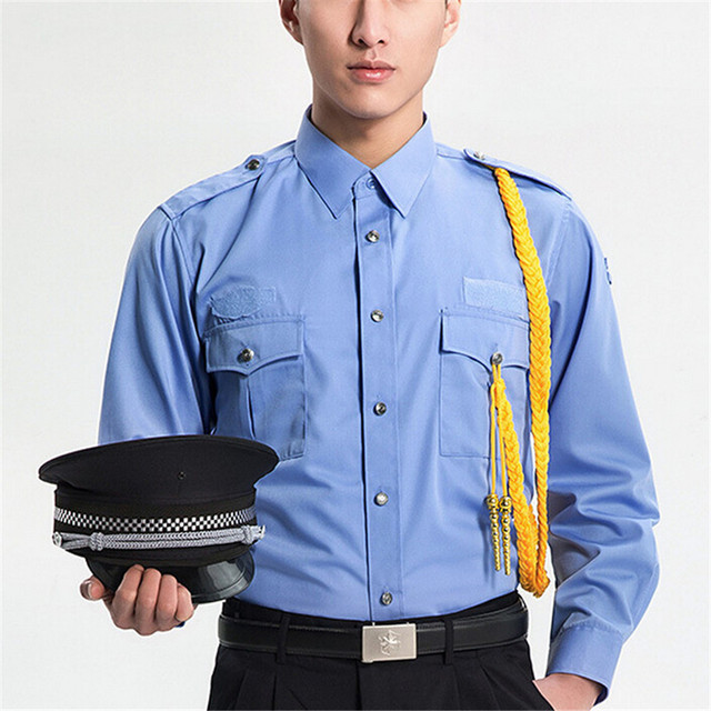 happy time men Military shirt security clothing men blue long sleeve shirt for work us army combat military uniform 1