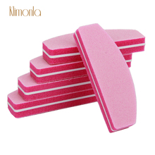 10pcs Pink Sponge Nail File Sanding Buffing Blocks Half Moon Art Polishing Files UV Gel Manicure Pedicure Tools For Finger