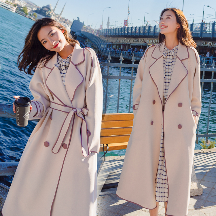 Korean Thin Windbreaker Female2019 Spring Autumn New Chic Double-breasted With Belt Long   Trench   Coat For Women Overcoats X787