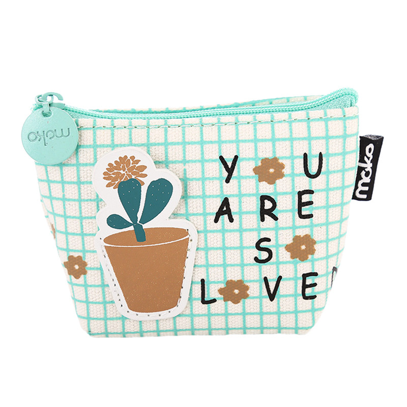 NIBESSER Cute Cactus Pattern Women Handbag Girls Cartoon Purse Simple Money Bag Change Pouch Coin Key Holder Portable Wallet
