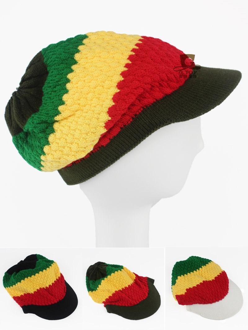 Fashion Unisex Men Women Rasta Visor Hat Beanie Skull Cap Stripe Jamaica Reggae knitted hat 2016 men women jamaican rasta hat dreadlocks wig marley caribbean fancy dress prop unisex knitted beanie hat handmade reggae cap