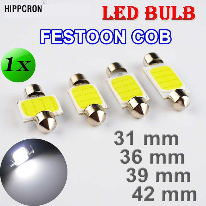 Flytop 31 Mm 36 Mm 39 Mm 42 Mm COB Memperhiasi Mobil Bohlam 12 Chip C5W 12V Warna Putih lampu LED Light Dome