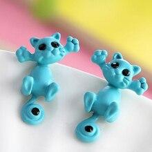 Creative 3D Animal Earrings Cartoon Cat Kitten Lovely Ear Stud Earrings Jewelry