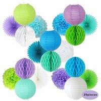 HAOCHU 20 stücke Grün Blau Weiß Runde Papierwaben Ball Dekorative Tissue Fan Hängen Geburtstag Baby Shower Wedding Decor Requisiten