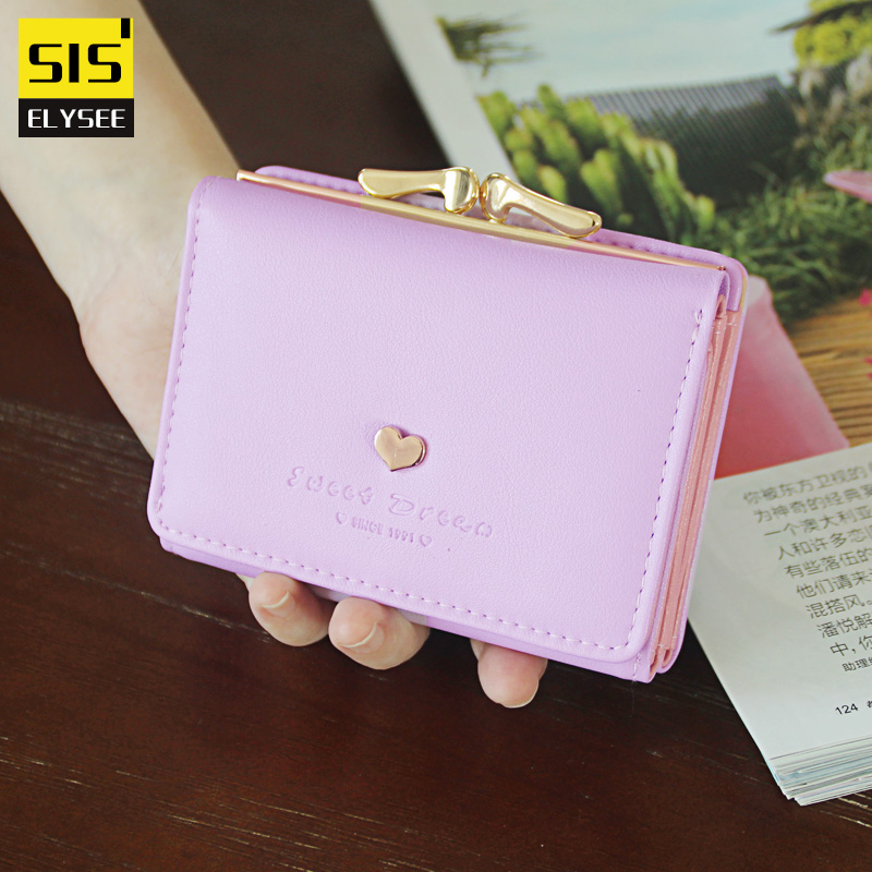 Fashion Heart-shaped Women Wallet Short Purse Solid Card Holder Candy Clutch Hand Bag Female With Exterior Coin Pocket Carteiras 2016 sep women wallets zipper short purse clutch coin bag cat wallet women card holder purses carteiras brand women bag
